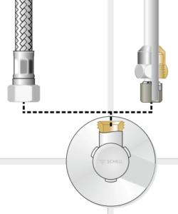 Darstellung eines Anschluss an Eckventil Schell, Haustechnik-Wissen