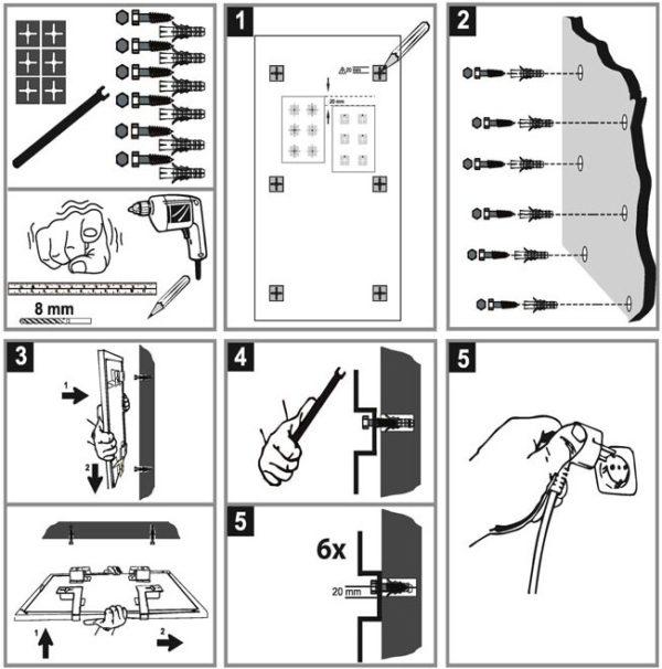 Darstellung einer Montagegrafik Infrarotheizung, Haustechnik-Wissen